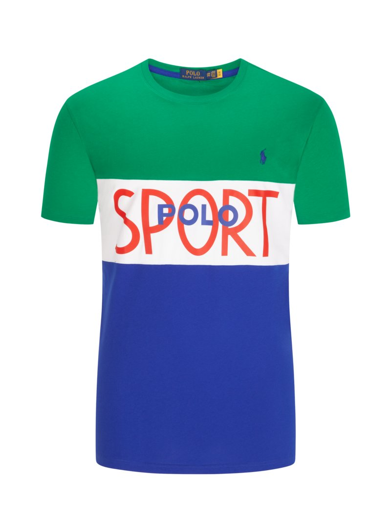 Polo Ralph Lauren T-shirt with contrast stripes GREEN in plus size