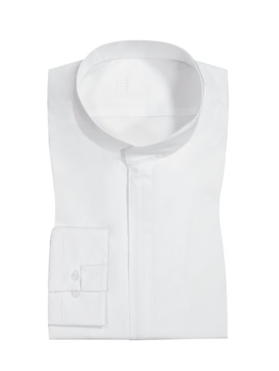 Shirt with zip panel and standing collar v WHITE