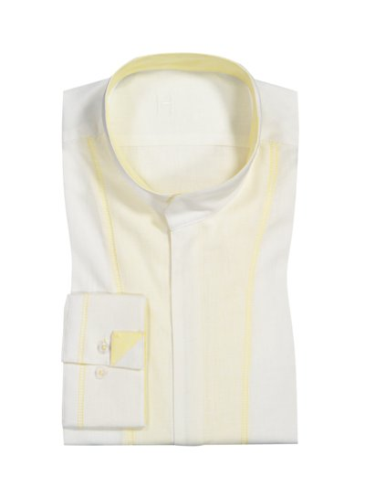 Shirt in a linen and cotton blend with standing collar v WHITE