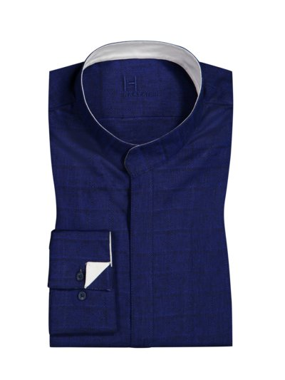 Shirt with zip panel and standing collar v BLUE