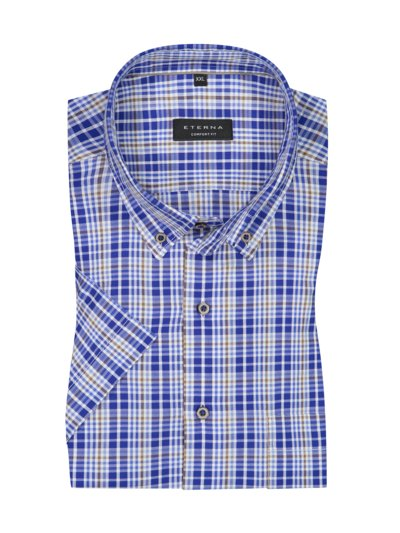 Short-sleeved shirt with check pattern, Comfort Fit v BLUE