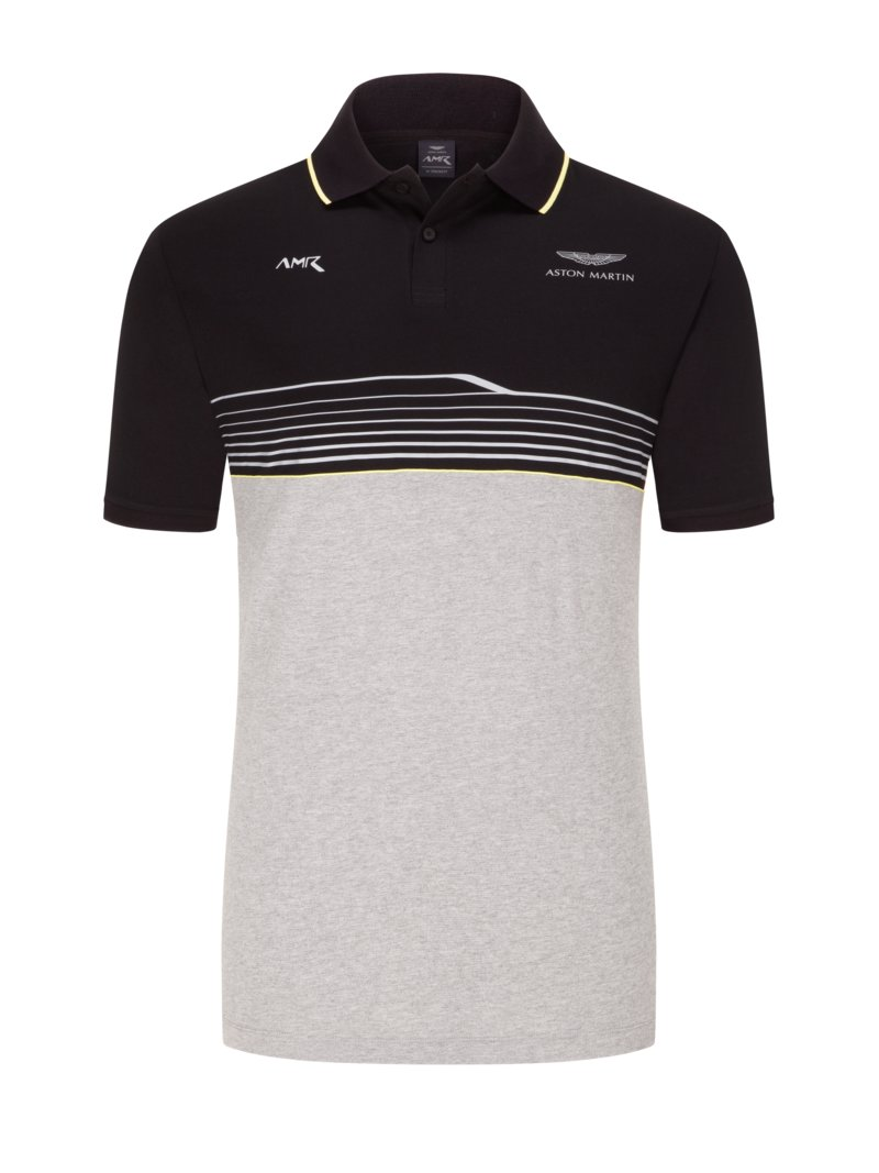 Hackett Polo shirt with waffle piqué, Aston Martin Collection BLACK in plus size