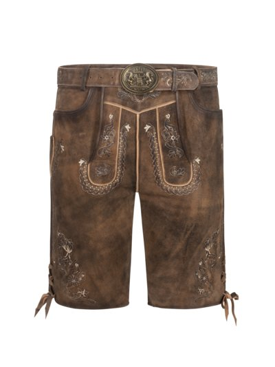 Lederhosen with delicate embroidery v BROWN