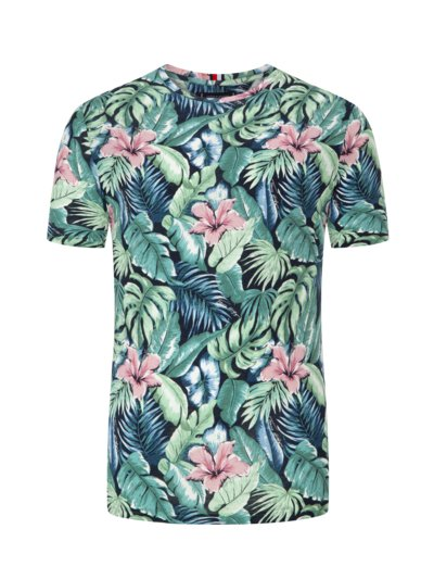 T-shirt with floral print v GREEN