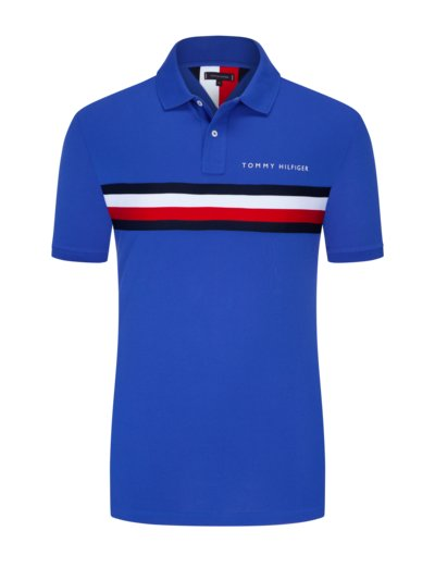 Polo shirt with wide logo stripe v ROYAL