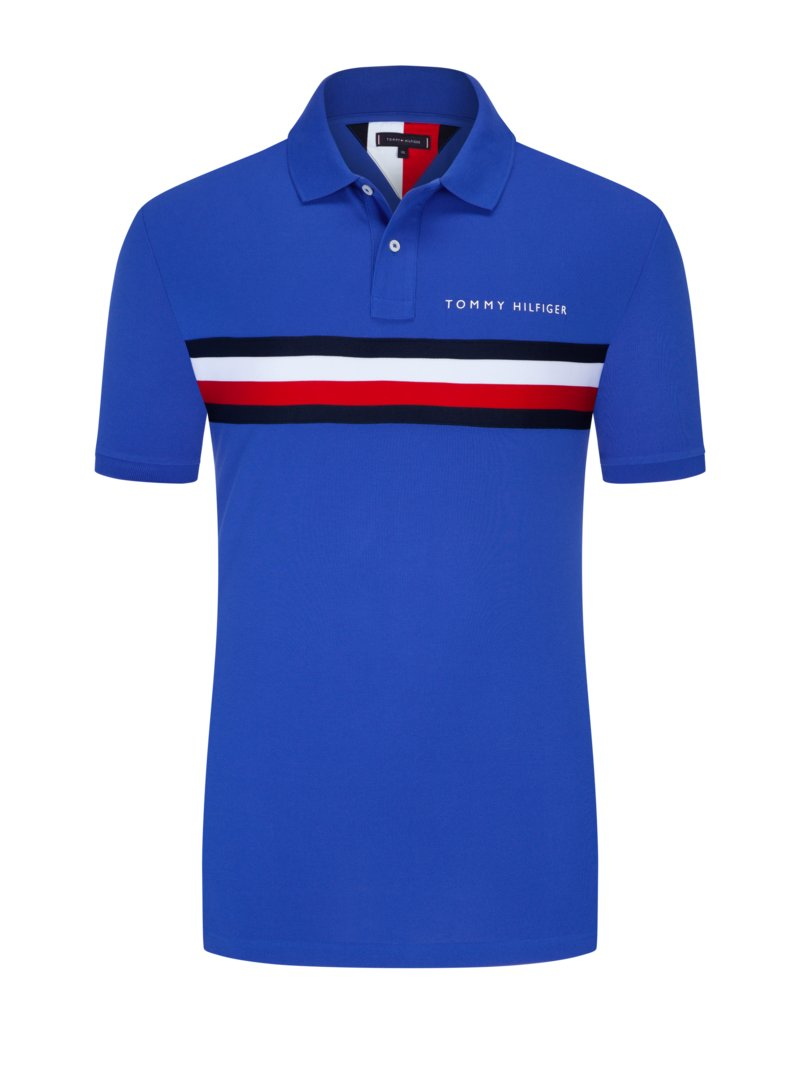 Tommy Hilfiger Polo shirt with wide logo stripe ROYAL in plus size