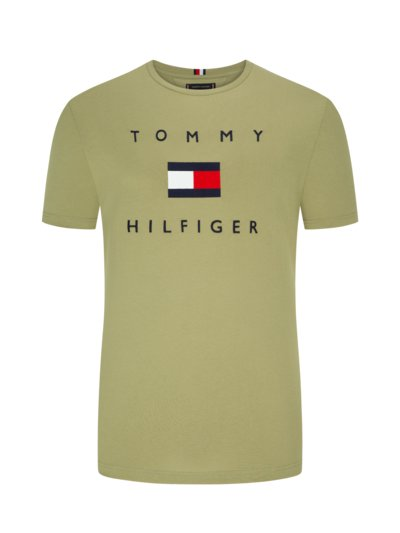 T-shirt with embroidery on the front v OLIVE-