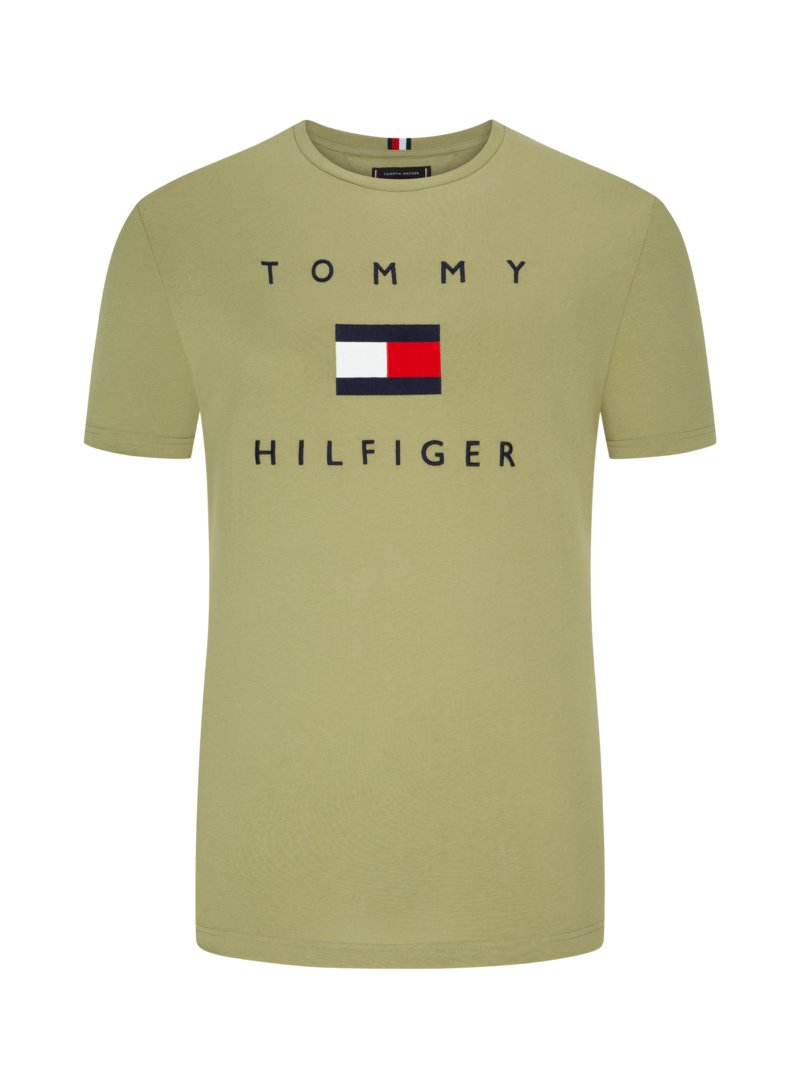 Tommy Hilfiger T-shirt with embroidery on the front OLIVE- in plus size