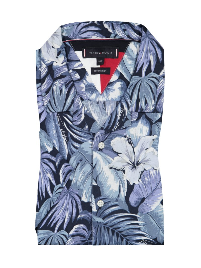 Tommy Hilfiger Half-sleeve shirt in a Hawaiian look BLUE in plus size