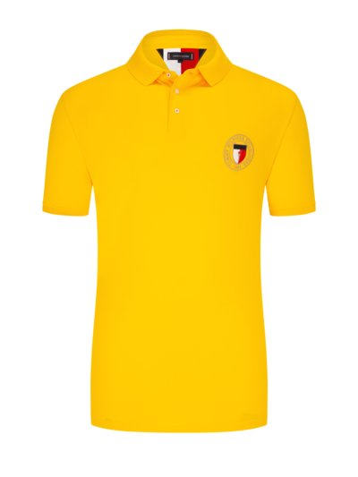 Polo shirt with logo patch v YELLOW