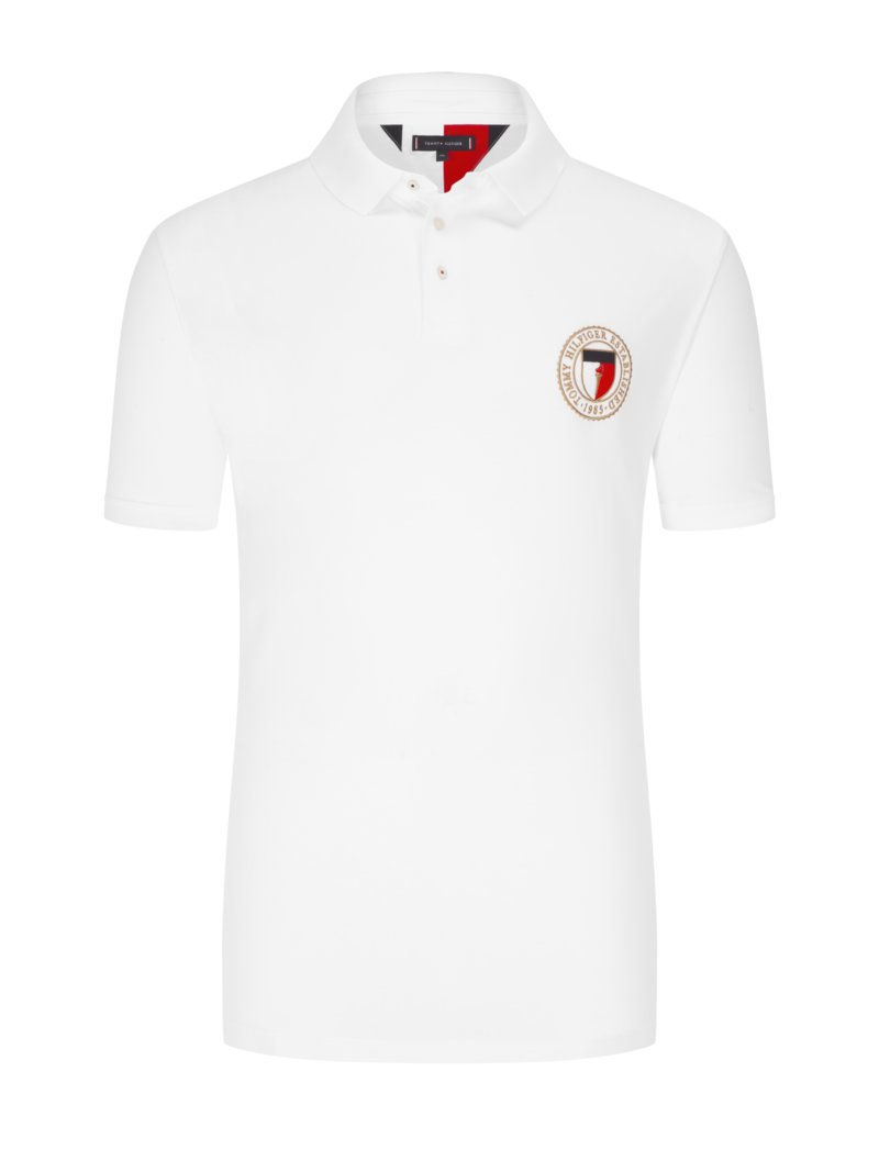 Tommy Hilfiger Polo shirt with logo patch WHITE in plus size