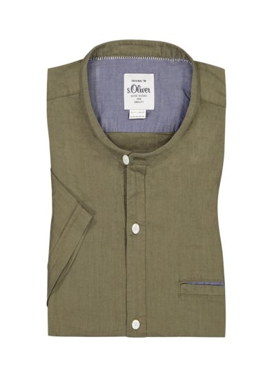Casual shirt with standing collar in a cotton and linen blend v OLIVE-