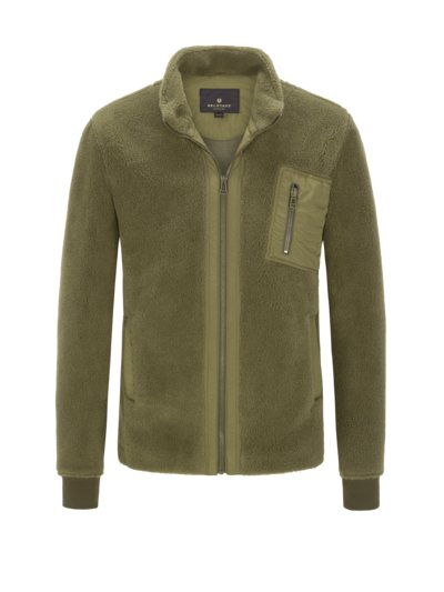 Teddy fleece jacket v OLIVE-