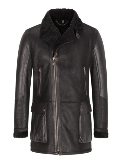 High-quality shearling coat v BLACK