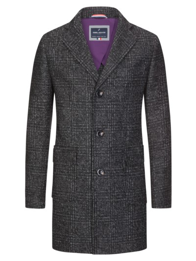 Coat in a glen check look v ANTHRACITE