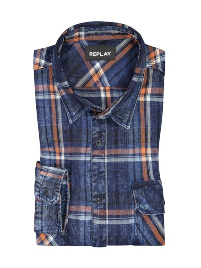 Denim shirt with check pattern v BLUE