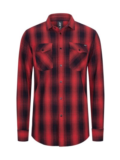 Checked overshirt v RED