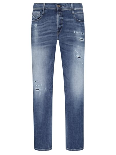 Washed Jeans mit Stretchanteil, Anbass in BLAU