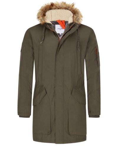 Parka with lined hood v OLIVE-