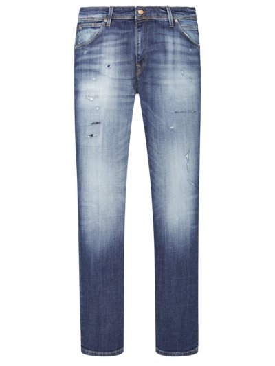Jeans mit Used-Effekt in BLAU