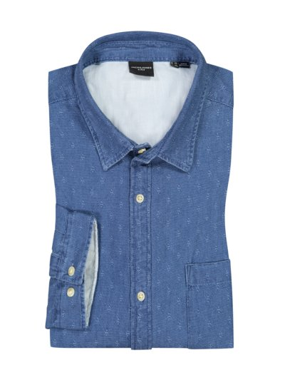 Shirt in a denim look with breast pocket v DENIM