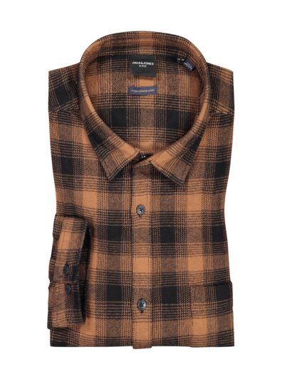 Flannel shirt with check pattern v BROWN