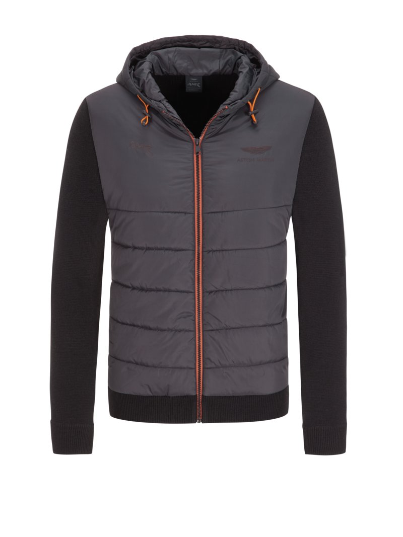 Hackett Quilted cardigan with hood, Aston Martin Racing BLACK in plus size