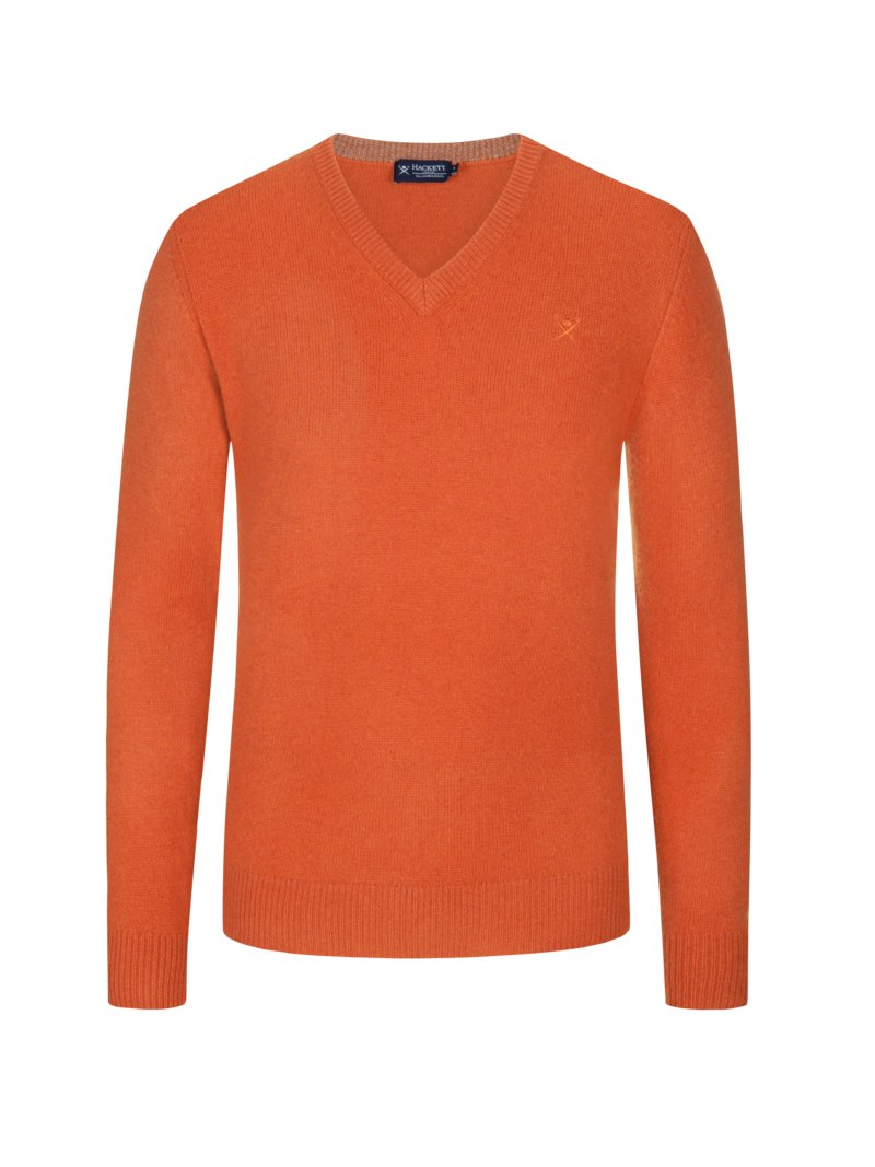 Hackett Sweater, V-neck, made of fine lambswool ORANGE in plus size