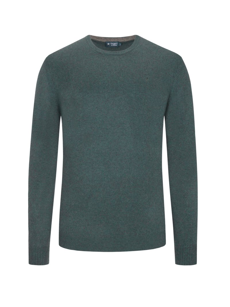 Hackett Sweater, crew neck, made of fine lambswool GREEN in plus size