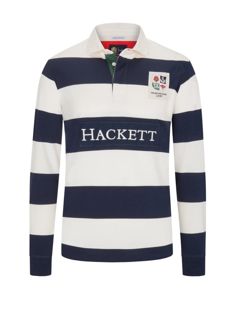 Hackett Rugby shirt with block stripes MARINE in plus size