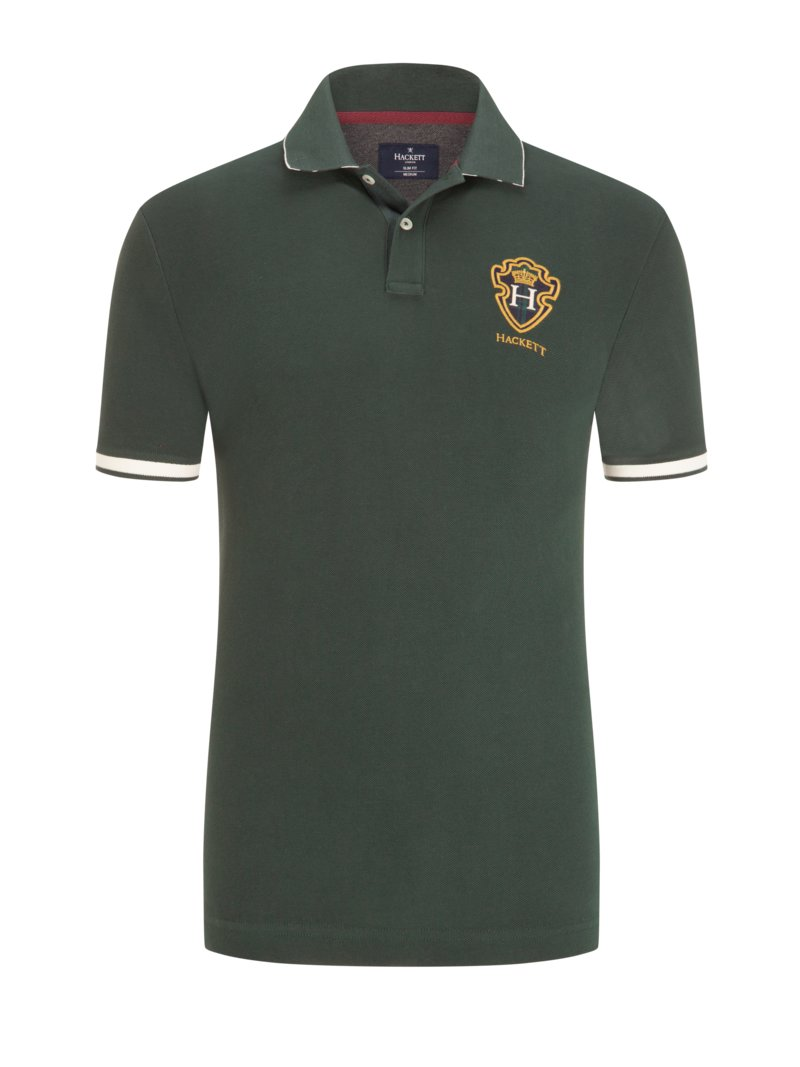 Hackett Polo shirt with embroidered coat of arms GREEN in plus size