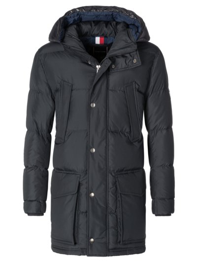 Quilted parka with 'TH Warm' v BLACK
