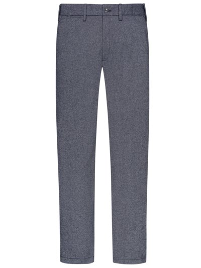 Chinos with micro texture and stretch v BLUE