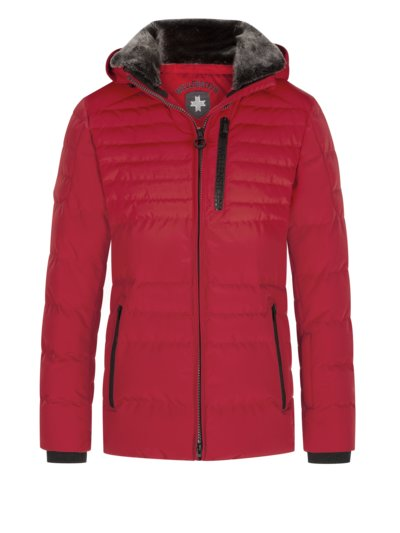Functional quilted jacket with faux fur collar, Pola v RED