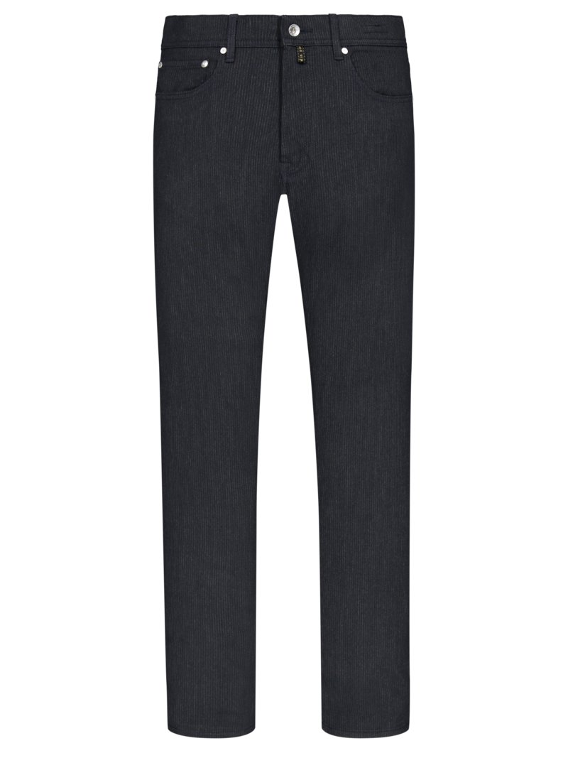 Pierre Cardin Five-pocket trousers with fineliner stripes, Voyage ANTHRACITE in plus size
