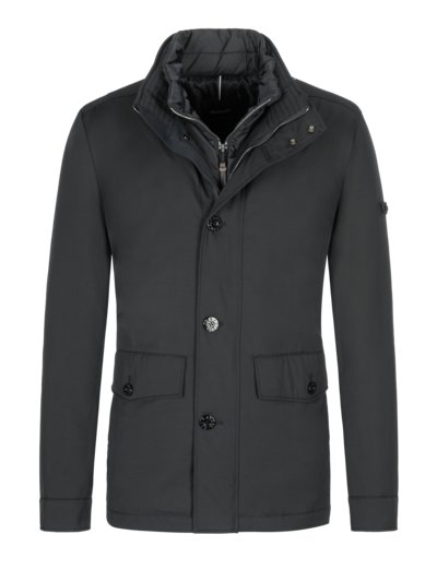 Casual jacket with an integrated hood v BLACK