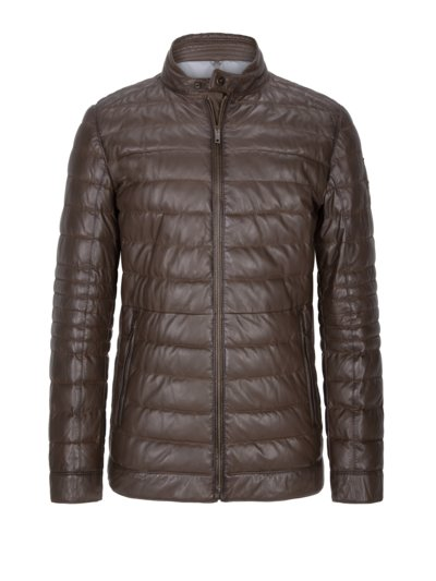 Leather jacket with quilted pattern v BROWN