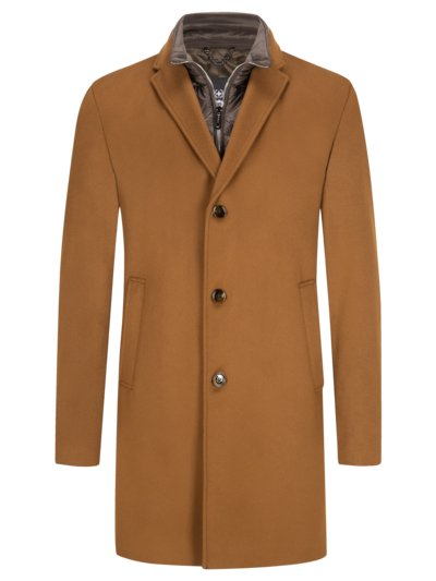 Wool coat with yoke v SAND