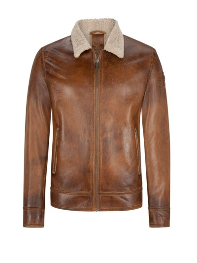 Vintage-style leather blouson with faux fur lining v COGNAC