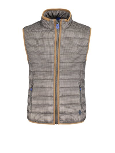 Quilted gilet with pepita pattern v BROWN