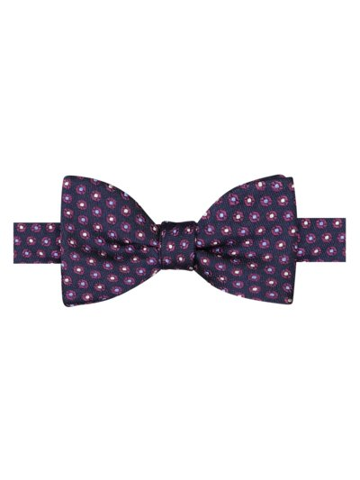 Silk bow tie with dot pattern v MARINE