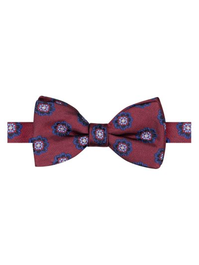 Bow tie with floral pattern v BORDEAUX