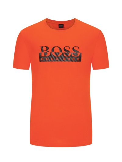 T-shirt with logo front print v ORANGE