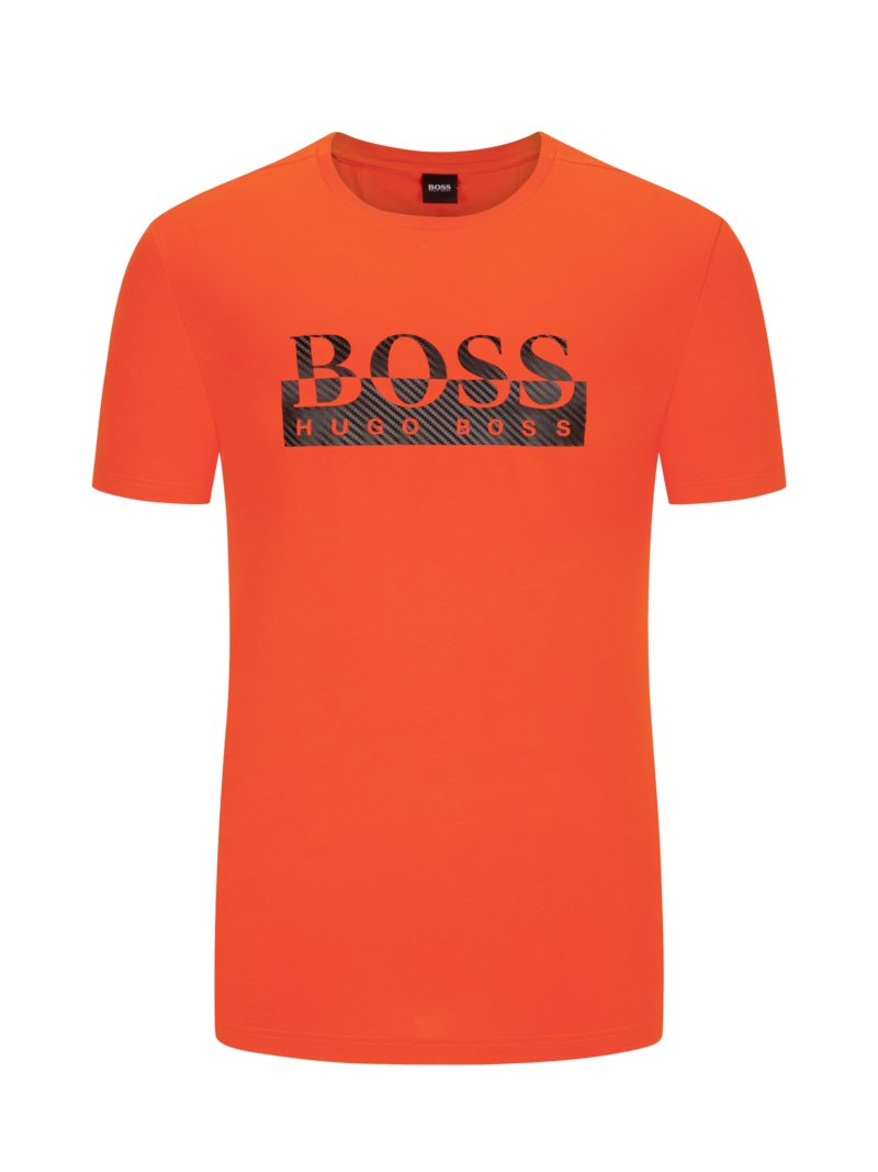 Boss T-shirt with logo front print ORANGE in plus size