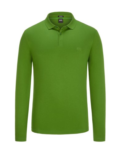Long-sleeved polo shirt in pure cotton v GREEN