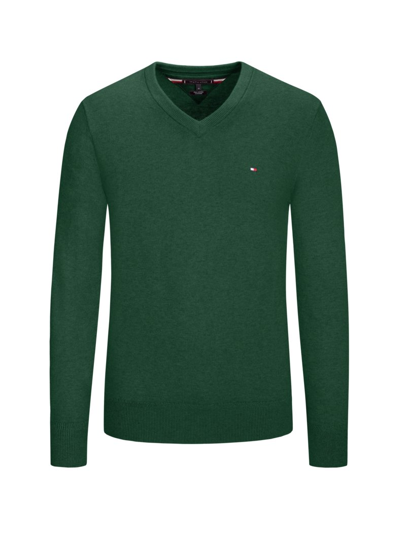 Tommy Hilfiger Sweater, V-neck, with cashmere content GREEN in plus size