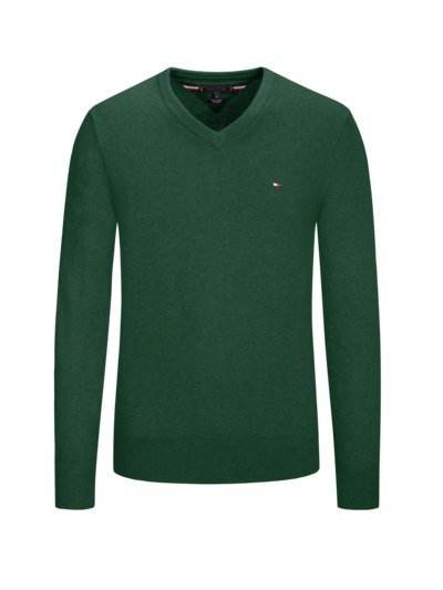 V-neck sweater with cashmere content v GREEN