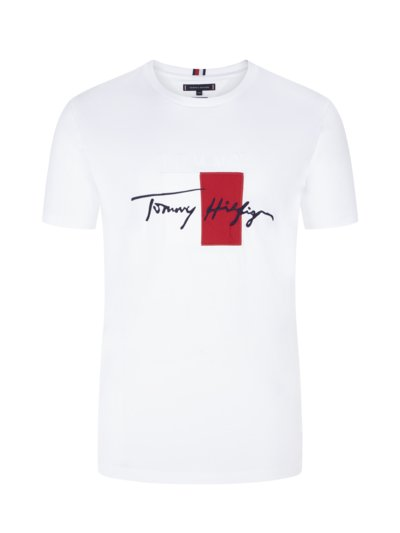 T-shirt with embroidered logo v WHITE