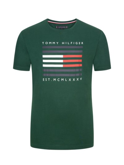 T-shirt with stylish logo stripes v GREEN