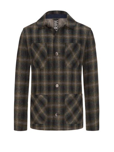 Checked overshirt in Yorkshire tweed v OLIVE-